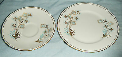 Vintage Royal Stafford England 'Blue Star' Part Trio - Plate & Saucer / No Cup