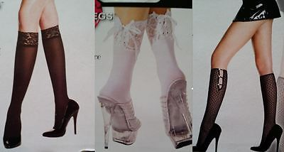 Music Legs Ankle High Knee Hi Lace Up Button Stocking Lace Black White Socks