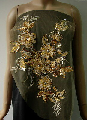 VB88 Gold Tier Multi-Flowers Rhinestone Gems Sequined Tulle Applique