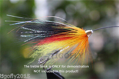 24pcs Yellow Black Cone Heads Tube Flies  Salmon And Sea Trout Fly Fishing Lures