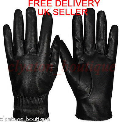 Unisex Ladies Women Leather Gloves Fleece Lined Thermal Soft Winter Warm Driving