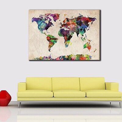 Framed Canvas Prints Stretched Watercolor World Map Wall Art Home Decor Painting