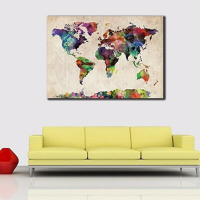 Watercolor World Map Stretched Canvas Prints Wall Art Home Decor Framed Painting