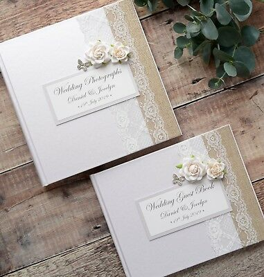 Luxury Personalised Wedding Guest Book & Album Set. Lace Rose & Butterfly Design