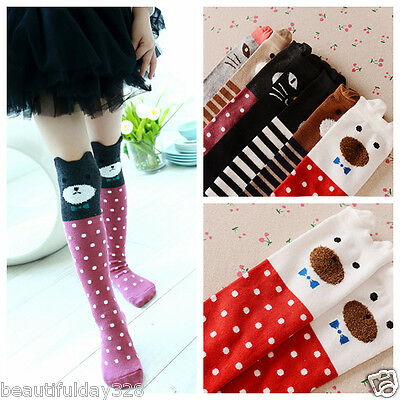 Girls Children Toddler Kids Knee High Length Socks Animal Cartoon 1-8 years