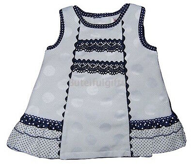 Baby Girls Spanish Lace Trim White Spot Dress 0-3 Month