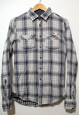 "Vintage Kids 80s Blue Check Lumberjack Shirt Boys LARGE 34"" (32-34) 100% Cotton"