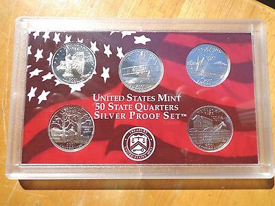 2001 S SILVER Proof State Quarter Set   No Box or Coa   Nice Coins