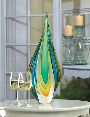 Tall Sophisticated Modern Contemporary Green Gold & Blue Flame Art Glass Statue