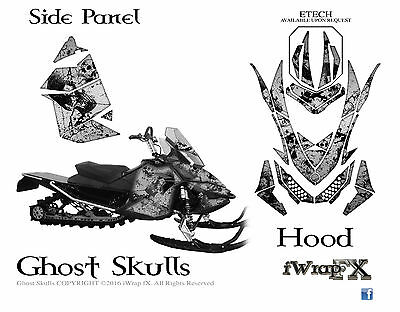 Ski-Doo sled Wrap Rev XP MXZ 2008-2013 sled decal kit Ghost Skulls