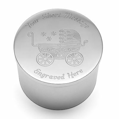 Personalised Silver Plated Round Trinket Box New Babies Christening Baptism Gift