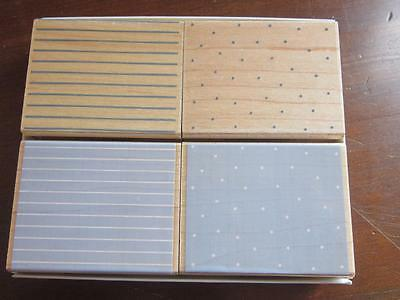 Hero Arts Set of 4 Rubber Stamps Poka Dots and Pinstripes Background New Package
