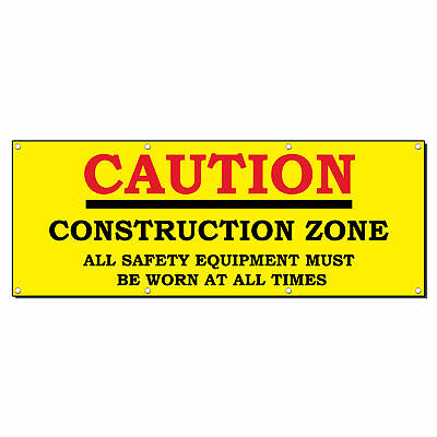 Caution Construction Zone Safety 13 Oz Vinyl Banner Sign With Grommets