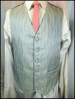 Vintage 90s Pale Blue Patterned Poly/Cotton Button Up Waistcoat Formal Prom S