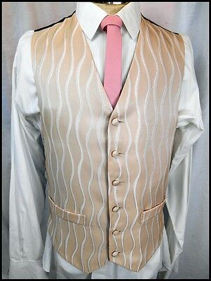 Vintage 90s Pale Brown Patterned Poly/Cotton Button Up Waistcoat Formal Prom S
