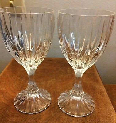 Mikasa PARK LANE 6 3/8 inch Crystal Wine Glasses Goblets Stemware set of 2 EUC