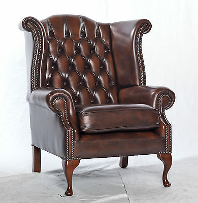Scroll wing chesterfield high back armchair - brown green - real leather- modern