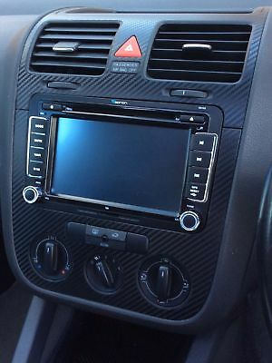 VW GOLF 5 V SET ALU 3D CARBON FIBRE EFFECT consol, steering and air vents