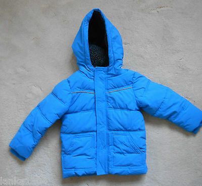 M&S Bright Blue Hooded Quilted Bomber Jacket-Age 2-3 years Chest 54, Height 98cm