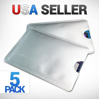 5x RFID Credit Debit ID Card Sleeve Protector Blocking Safety Shield Anti Theft