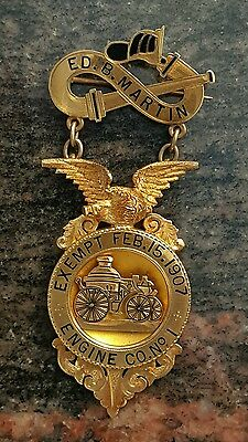 Baltimore City Engine Co. 1 Exempt Ed B. Martin Fire Badge 14Kt Gold
