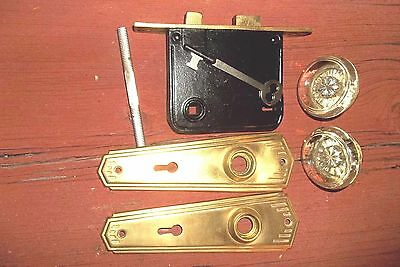 Antique Yale Mortise Lock, No.2 with Key, Glass Door Knobs, 6-1/2: Brass Plates