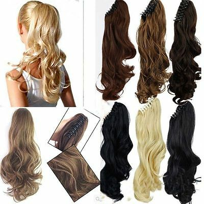 Clip in Ponytail Hair Extension Hairpiece Ash Pale Blonde Plum Red Brown ginger