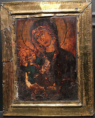 Russian Icon - Egg Tempera On Wood Panel - Mother And Child (19th C.)