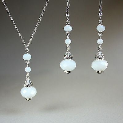 White crystal necklace earrings wedding bridal bridesmaid silver jewellery set