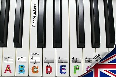 Keyboard or Piano Stickers 61 key set For Kids learn to play THE FUN WAY