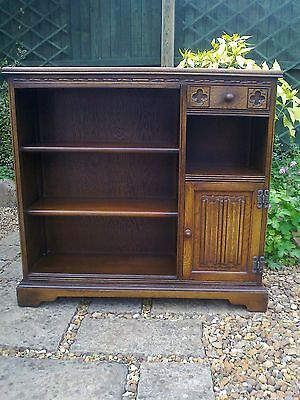 Old Charm Oak Bookcase with Side Cupboard and Drawer