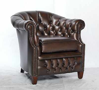 Cambridge chesterfield tub chair scroll armchair -brown leather-modern vintage