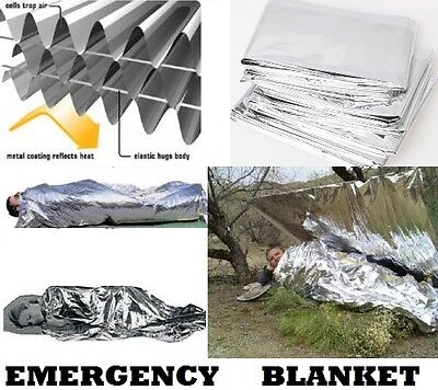 ONE EMERGENCY BLANKET Survival Kits Bug Out Bags First Aid MAYDAY Solar Blanket