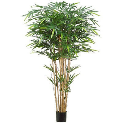 6' Tropical Bamboo Silk Tree w/Pot -1,664 Leaves -Green (pack of 2)
