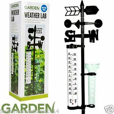 Weather Proof Outdoor Garden Weather Lab(Wind Spinner,Thermometer)-35cm