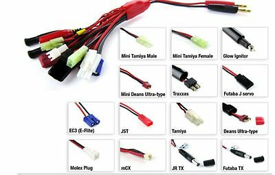 14 in 1 multi connector charging cable Traxxas Tamiya Deans Futaba UK Stock