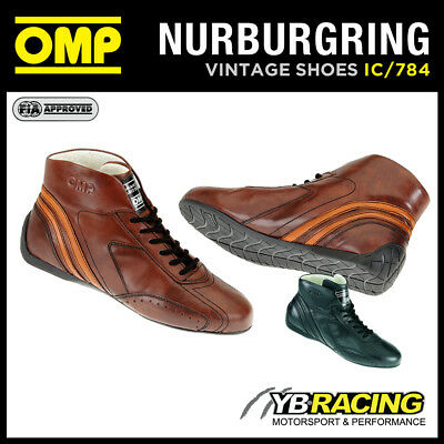 Ic/784 Omp Nurburgring Boots Vintage Classic Race Boots Hand Made In Leather