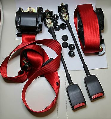 CLASSIC FIAT 500 / FIAT 126 / Mini FRONT RED SEAT BELT 3 POINT AUTOMATIC - KIT