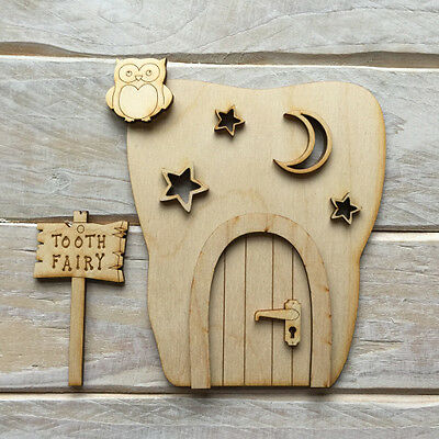 3D Wooden Fairy Elf Door Craft Kit Plain Blank Ready to Decorate  CODE KIT TOOTH