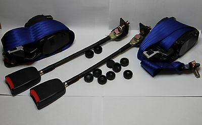 Classic Fiat 500 / Fiat 126 / Mini Front Seat Belt 3 Point Automatic  Kit Blue
