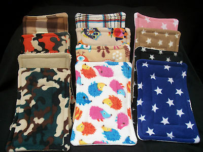 HAMSTER, GUINEA PIG BED,RAT,DEGU,FLEECE SNUGGLE LAP CUSHION WEE PAD HOLDER 11x8""