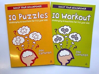 Set of 2 Challenging IQ Questions Boost Your Brain Power Books Age 7-11 Year KS2