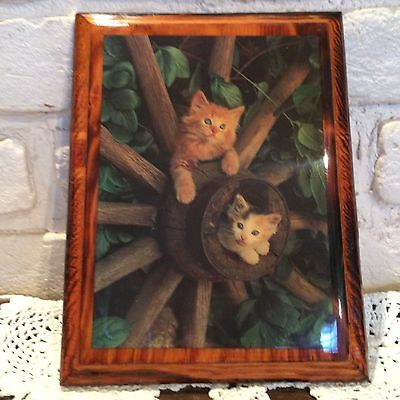 Vintage Resincraft Kitten Wooden Wall Plaque