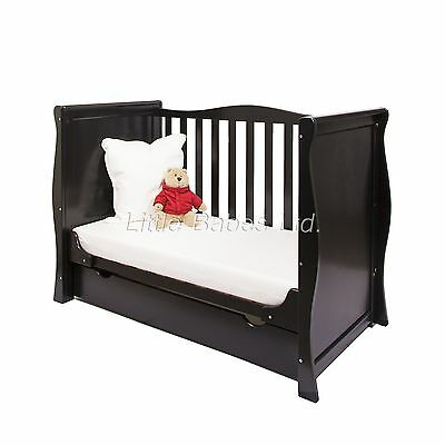 New Pinewood Black Sleigh Mini Cot Bed & Drawer +/- British Made Safety Mattress