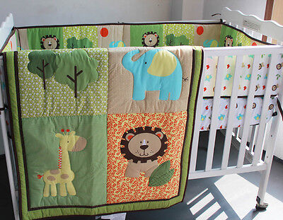 Baby Bedding Crib Cot Quilt Set- NEW 6pcs Quilt Bumper Sheet Dust Ruffle