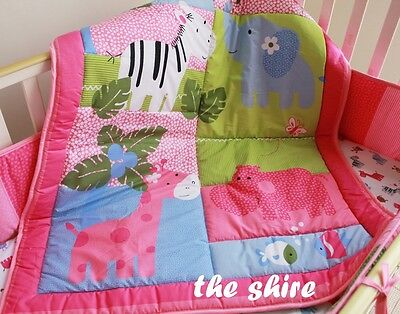 Baby Bedding Crib Cot Quilt Set- NEW 9pcs Quilt Bumper Sheet Dust Ruffle Nappy S