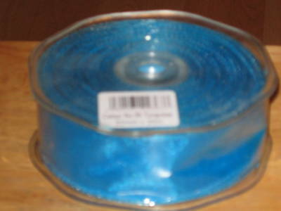 Rouleau of Transparent Organza Filaire Ruban Turquoise 50mm x 20M