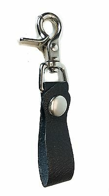 Leather Key Loop Trigger Clasp Sport Calf Leather Keychain Ring Bikers Skaters