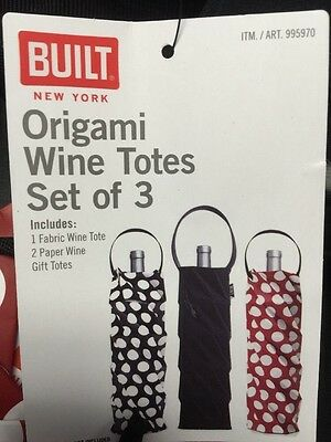 Set Of 3 Origami Wine Totes *Built New York* BUY 3 GET 3 FREE!! Fast Delivery!