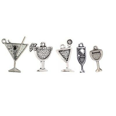 10/30pcs Drinking Cup Wine Goblet Beads Tibetan Silver Charms Pendant Bracelet